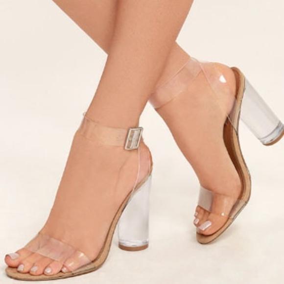 cd0aae0910e Steve Madden Teena Clear Strappy Heels Size 8. M 5b1c2305409c15ffbdb016b8